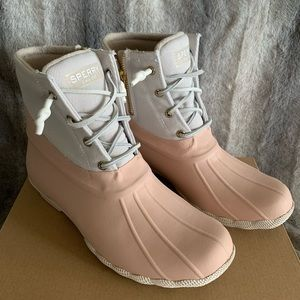 Sperry Saltwater Rubber Duck Boot Pink Ivory